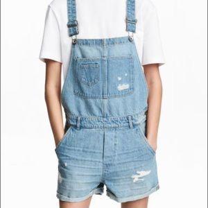 Distressed denim short overalls